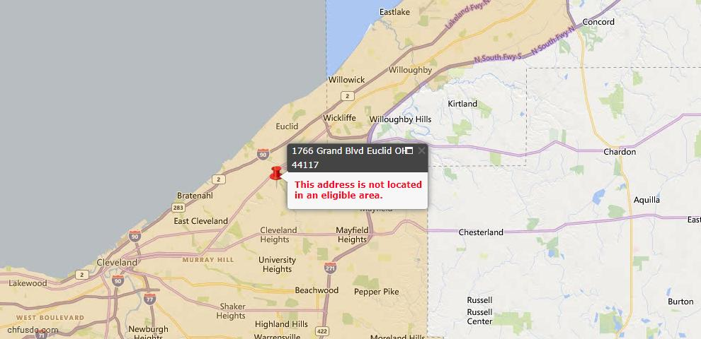 USDA Loan Eligiblity Map - 1766 Grand Blvd, Euclid, OH 44117