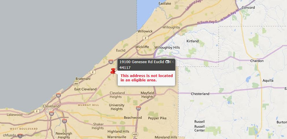 USDA Loan Eligiblity Map - 19100 Genesee Rd, Euclid, OH 44117