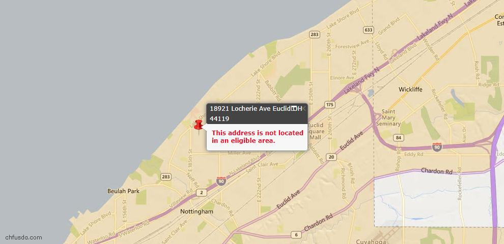 USDA Loan Eligiblity Map - 18921 Locherie Ave, Euclid, OH 44119