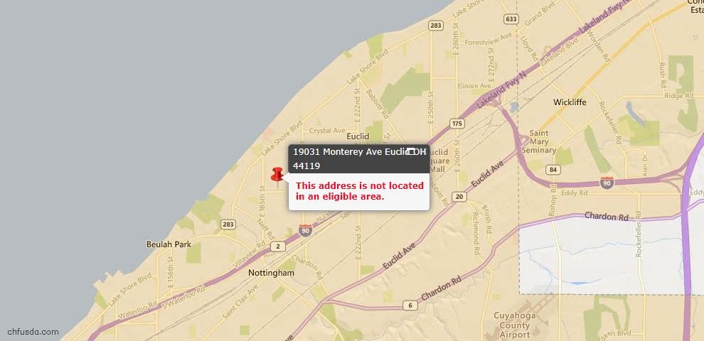 USDA Loan Eligiblity Map - 19031 Monterey Ave, Euclid, OH 44119