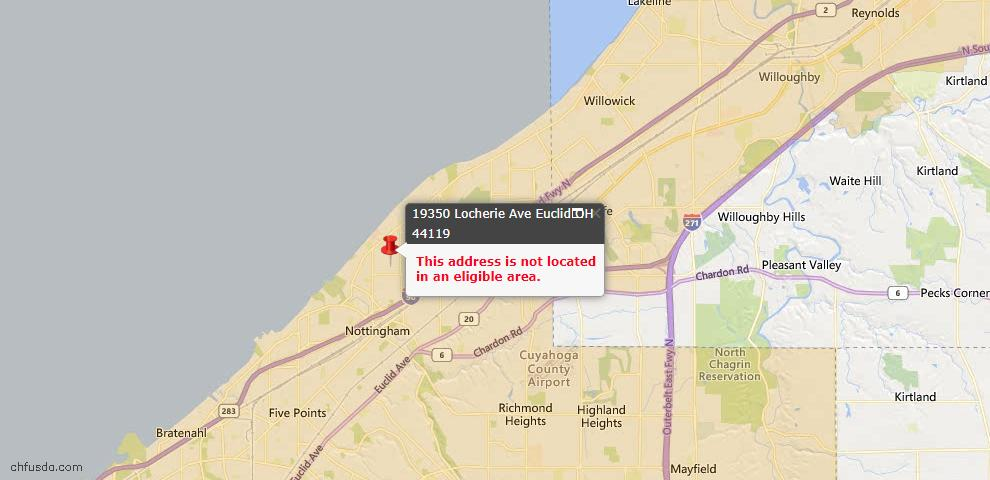 USDA Loan Eligiblity Map - 19350 Locherie Ave, Euclid, OH 44119