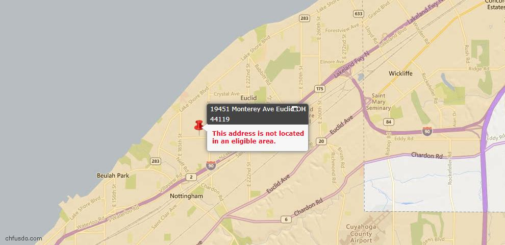 USDA Loan Eligiblity Map - 19451 Monterey Ave, Euclid, OH 44119
