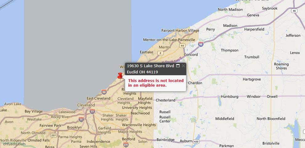 USDA Loan Eligiblity Map - 19630 S Lake Shore Blvd, Euclid, OH 44119