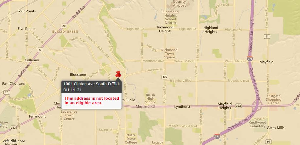USDA Loan Eligiblity Map - 1004 Clinton Ave, South Euclid, OH 44121