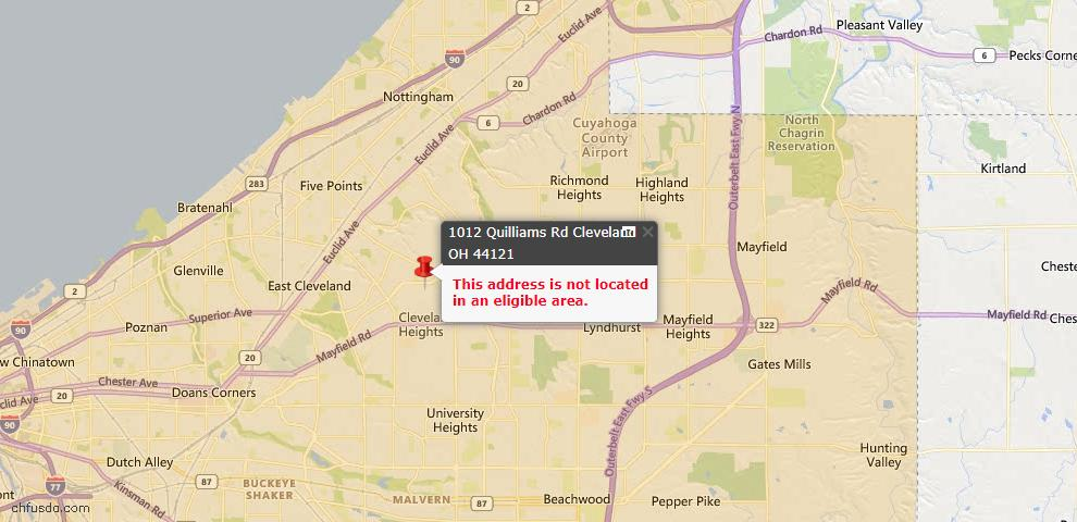 USDA Loan Eligiblity Map - 1012 Quilliams Rd, Cleveland, OH 44121