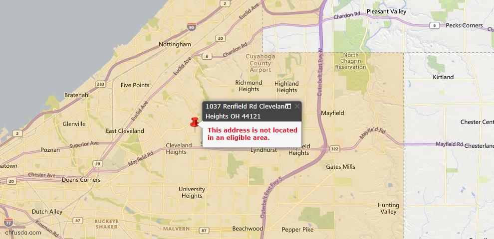 USDA Loan Eligiblity Map - 1037 Renfield Rd, Cleveland Heights, OH 44121