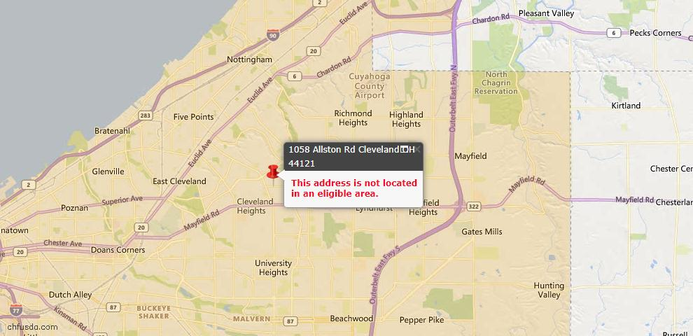 USDA Loan Eligiblity Map - 1058 Allston Rd, Cleveland, OH 44121