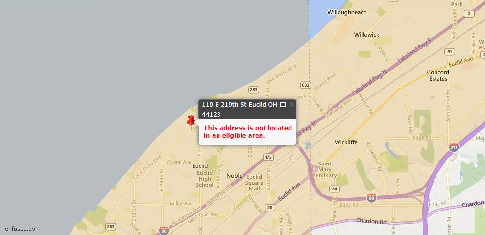 USDA Loan Eligiblity Map - 110 E 219th St, Euclid, OH 44123