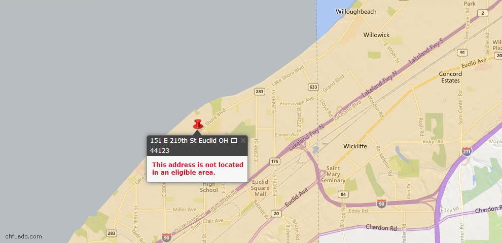 USDA Loan Eligiblity Map - 151 E 219th St, Euclid, OH 44123