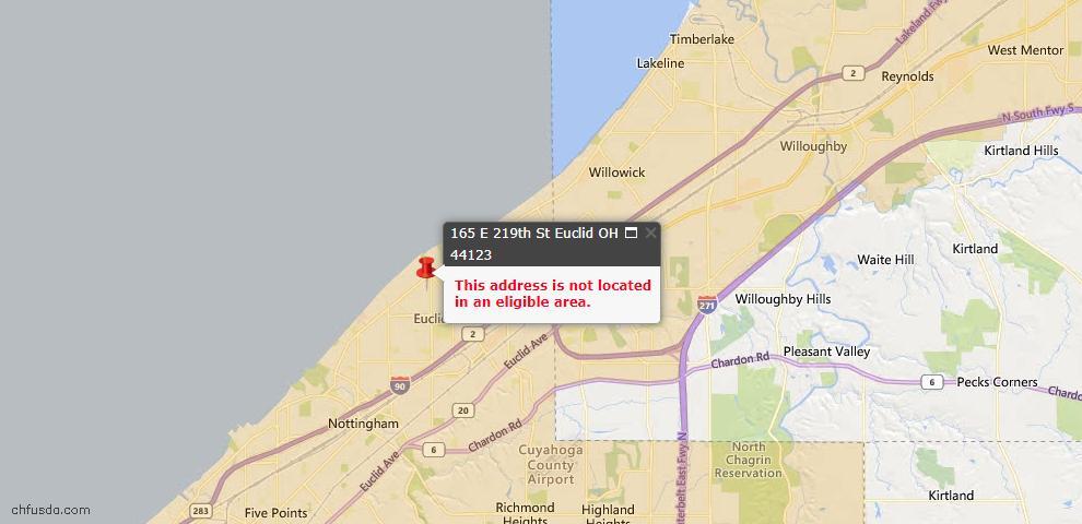 USDA Loan Eligiblity Map - 165 E 219th St, Euclid, OH 44123