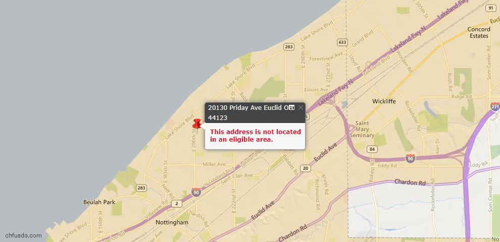 USDA Loan Eligiblity Map - 20130 Priday Ave, Euclid, OH 44123