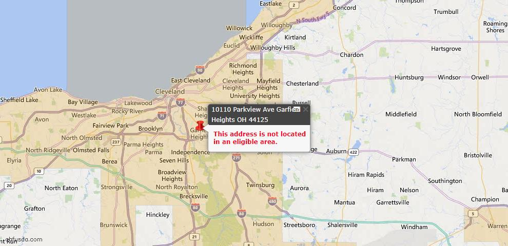 USDA Loan Eligiblity Map - 10110 Parkview Ave, Garfield Heights, OH 44125