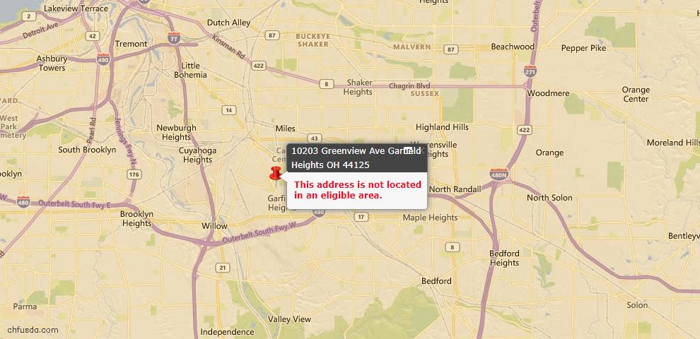 USDA Loan Eligiblity Map - 10203 Greenview Ave, Garfield Heights, OH 44125