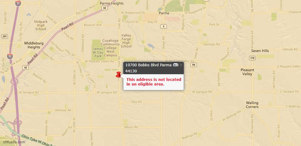 USDA Loan Eligiblity Map - 10700 Bobko Blvd, Parma, OH 44130