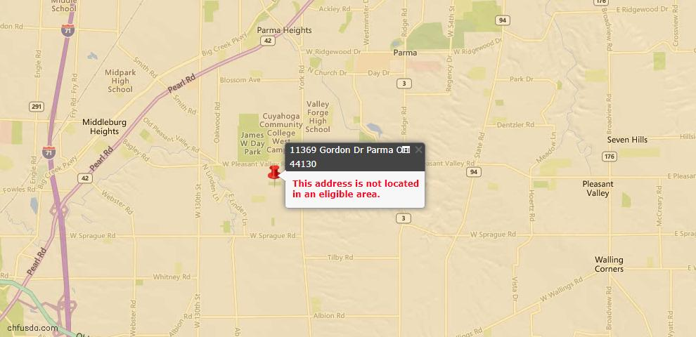 USDA Loan Eligiblity Map - 11369 Gordon Dr, Parma, OH 44130
