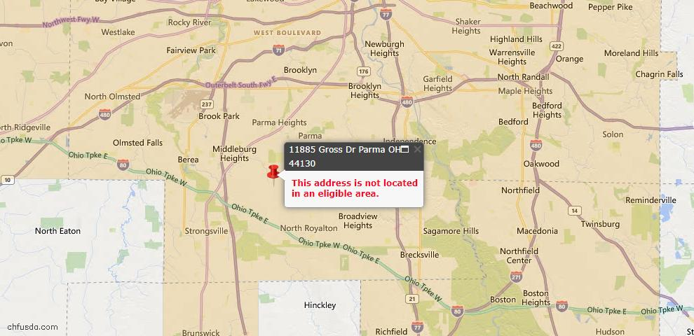 USDA Loan Eligiblity Map - 11885 Gross Dr, Parma, OH 44130