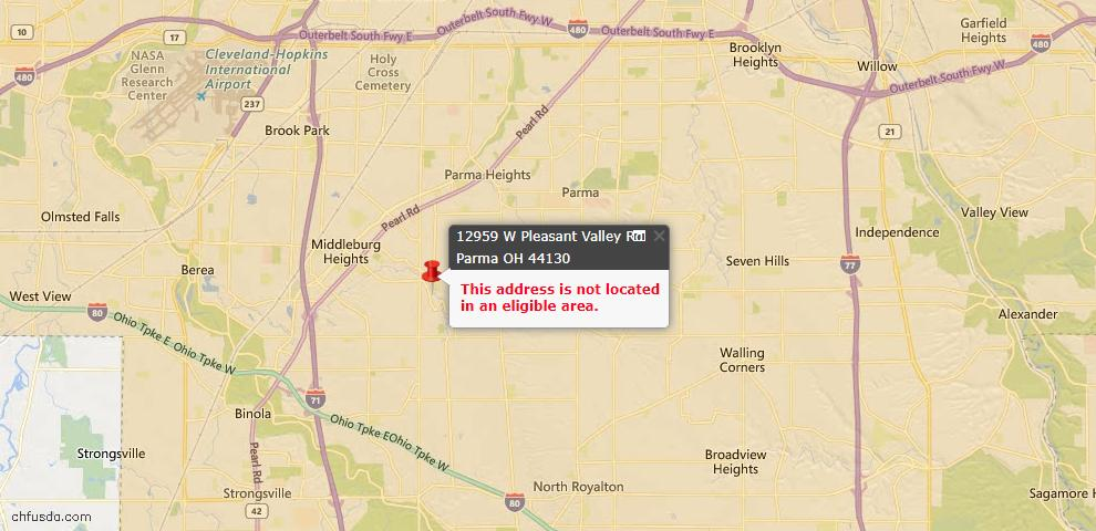 USDA Loan Eligiblity Map - 12959 W Pleasant Valley Rd, Parma, OH 44130