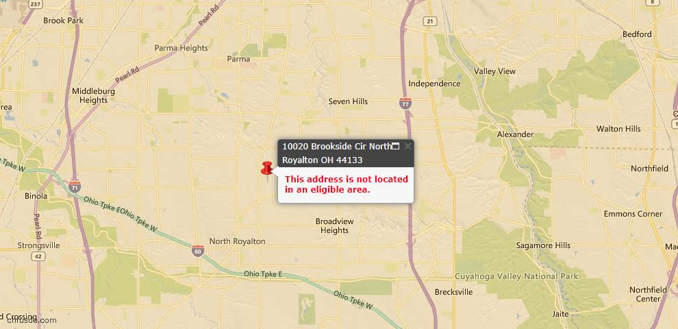 USDA Loan Eligiblity Map - 10020 Brookside Cir, North Royalton, OH 44133