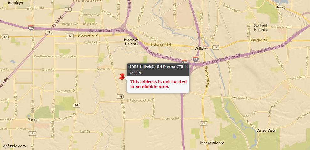 USDA Loan Eligiblity Map - 1007 Hillsdale Rd, Parma, OH 44134