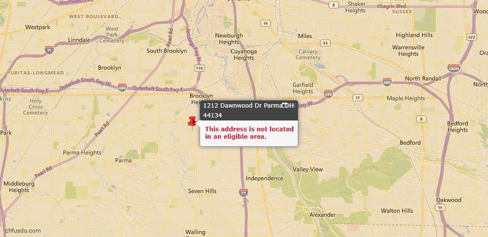 USDA Loan Eligiblity Map - 1212 Dawnwood Dr, Parma, OH 44134