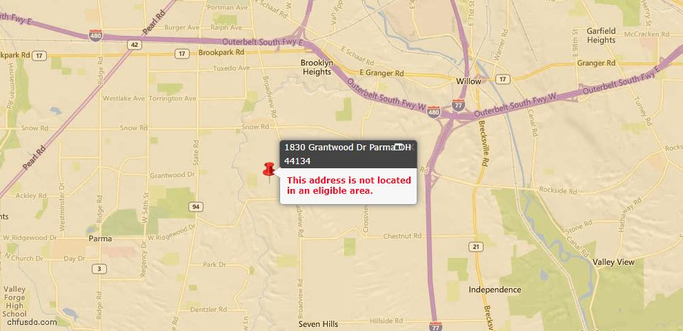 USDA Loan Eligiblity Map - 1830 Grantwood Dr, Parma, OH 44134