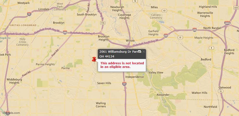 USDA Loan Eligiblity Map - 2061 Williamsburg Dr, Parma, OH 44134