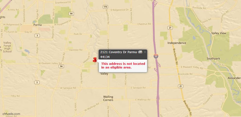 USDA Loan Eligiblity Map - 2121 Coventry Dr, Parma, OH 44134
