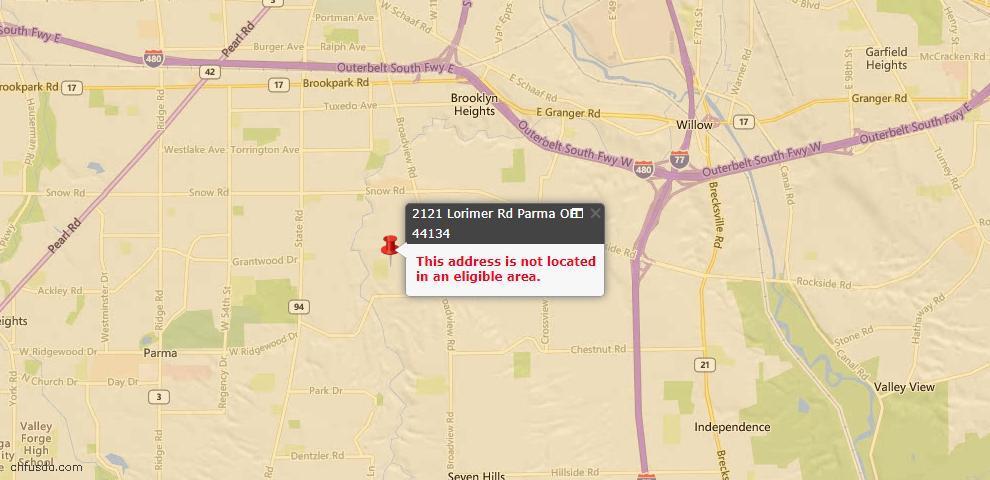 USDA Loan Eligiblity Map - 2121 Lorimer Rd, Parma, OH 44134