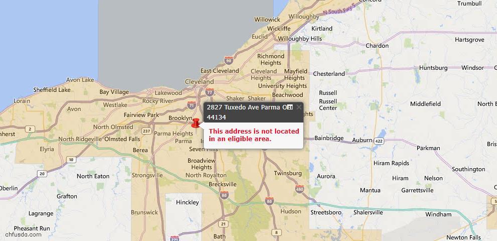 USDA Loan Eligiblity Map - 2827 Tuxedo Ave, Parma, OH 44134