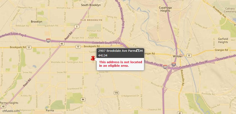 USDA Loan Eligiblity Map - 2907 Brookdale Ave, Parma, OH 44134