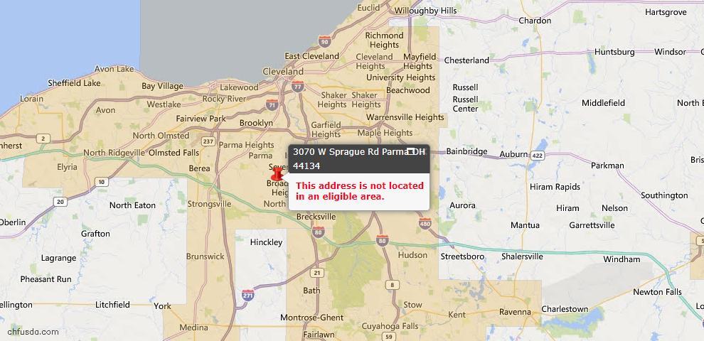 USDA Loan Eligiblity Map - 3070 W Sprague Rd, Parma, OH 44134