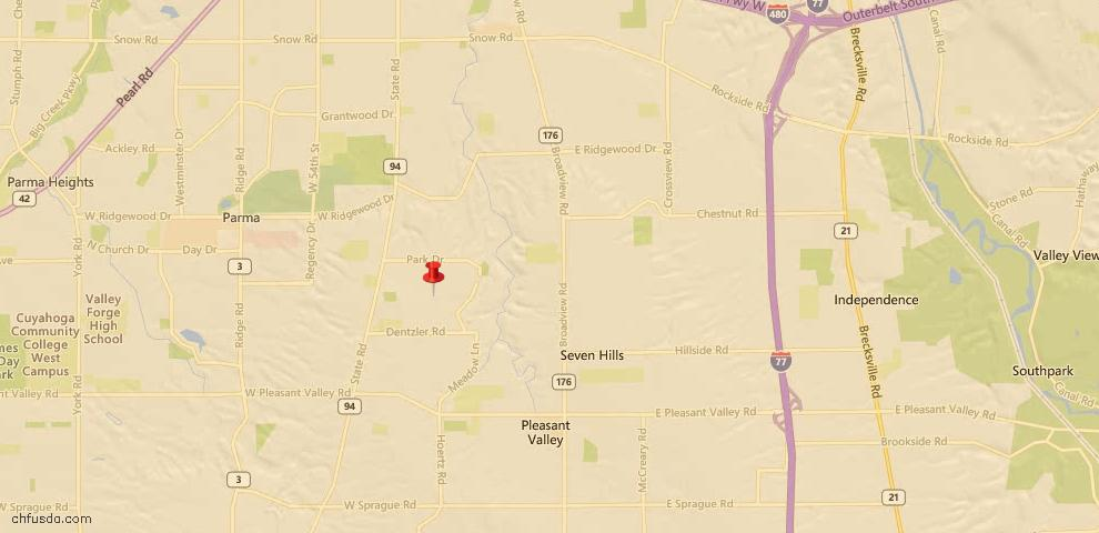 USDA Loan Eligiblity Map - 3103 Stanfield Dr, Parma, OH 44134