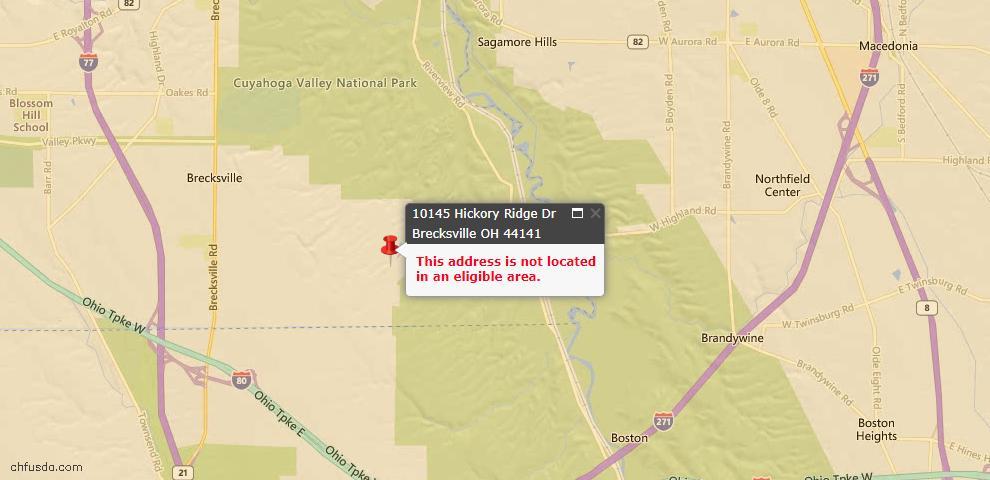 USDA Loan Eligiblity Map - 10145 Hickory Ridge Dr, Brecksville, OH 44141