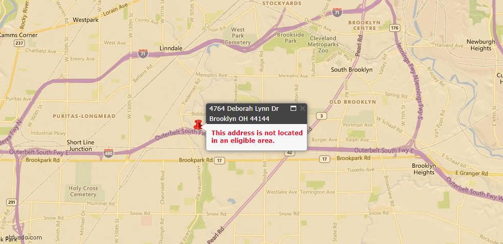 USDA Loan Eligiblity Maps From - Brooklyn, OH