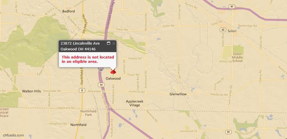 USDA Loan Eligiblity Maps From - Oakwood Village, OH