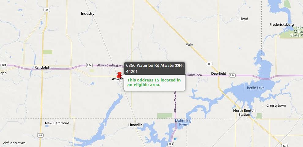 USDA Loan Eligiblity Maps From - Atwater, OH