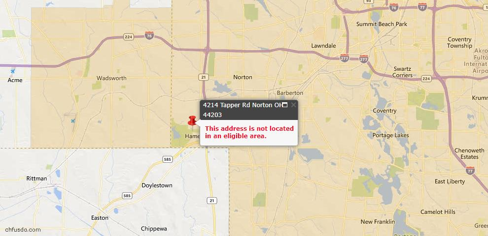 USDA Loan Eligiblity Maps From - Norton, OH