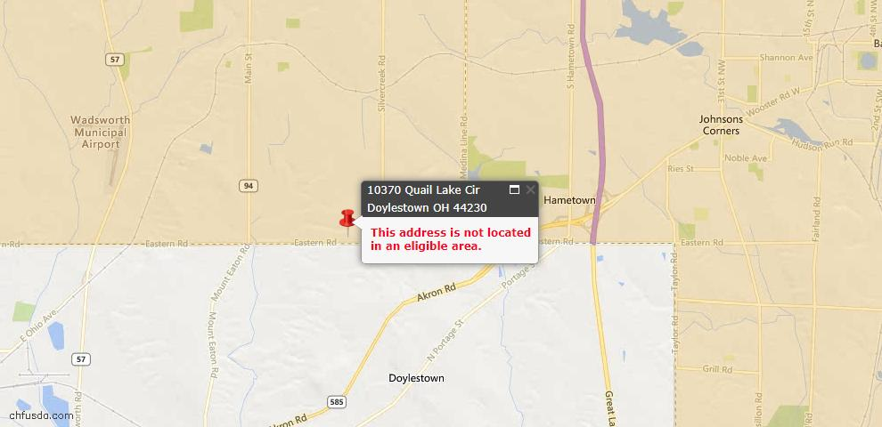 USDA Loan Eligiblity Maps From - Doylestown, OH