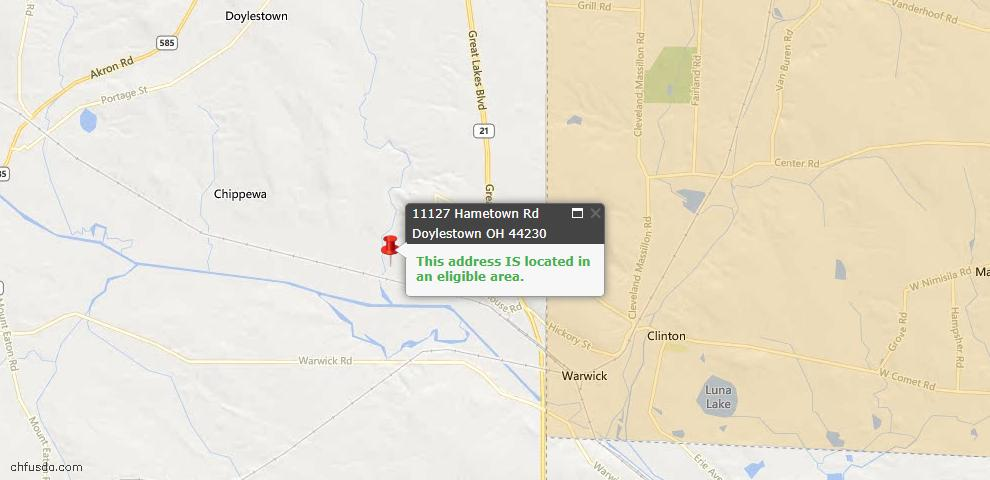 USDA Loan Eligiblity Maps From - 44230, OH