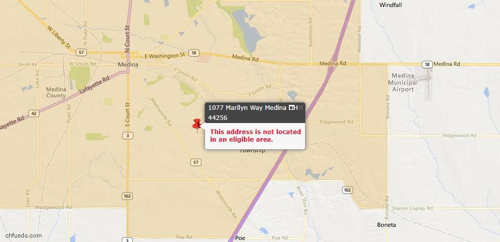 USDA Loan Eligiblity Map - 1077 Marilyn Way, Medina, OH 44256