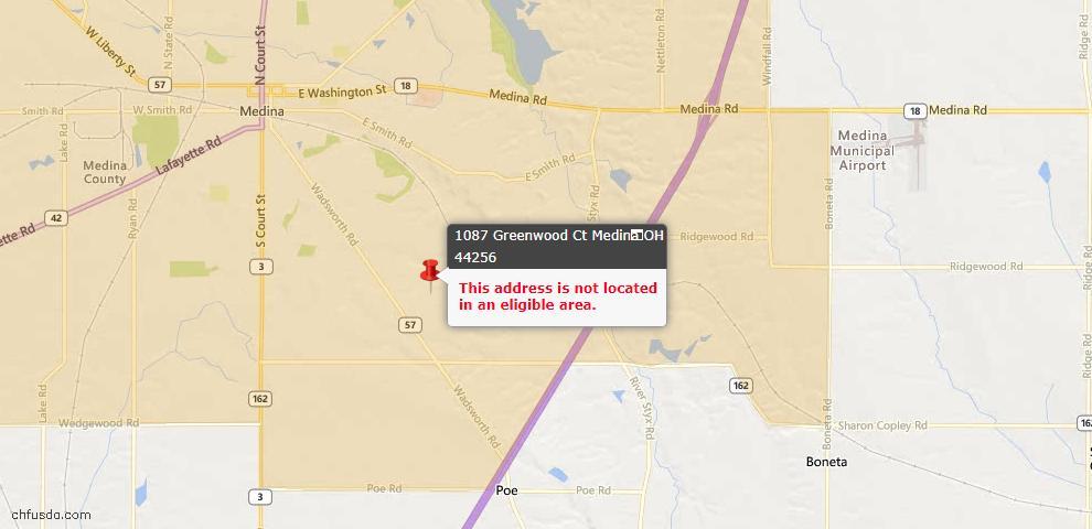 USDA Loan Eligiblity Map - 1087 Greenwood Ct, Medina, OH 44256