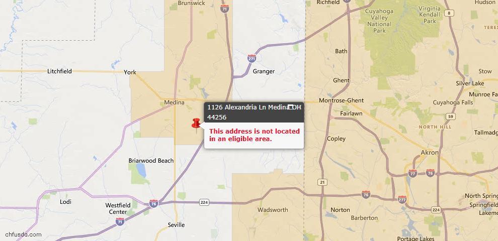 USDA Loan Eligiblity Map - 1126 Alexandria Ln, Medina, OH 44256