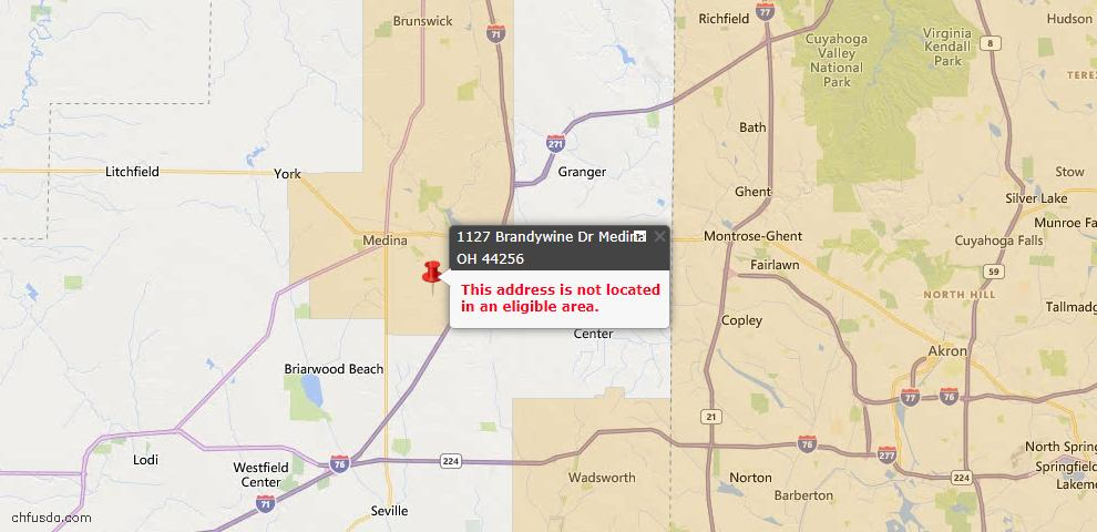 USDA Loan Eligiblity Map - 1127 Brandywine Dr, Medina, OH 44256