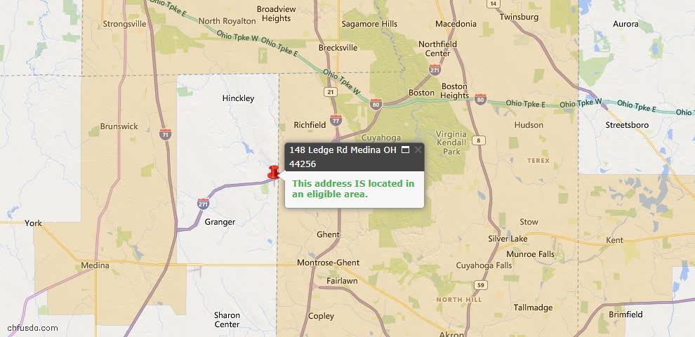 USDA Loan Eligiblity Map - 148 Ledge Rd, Medina, OH 44256