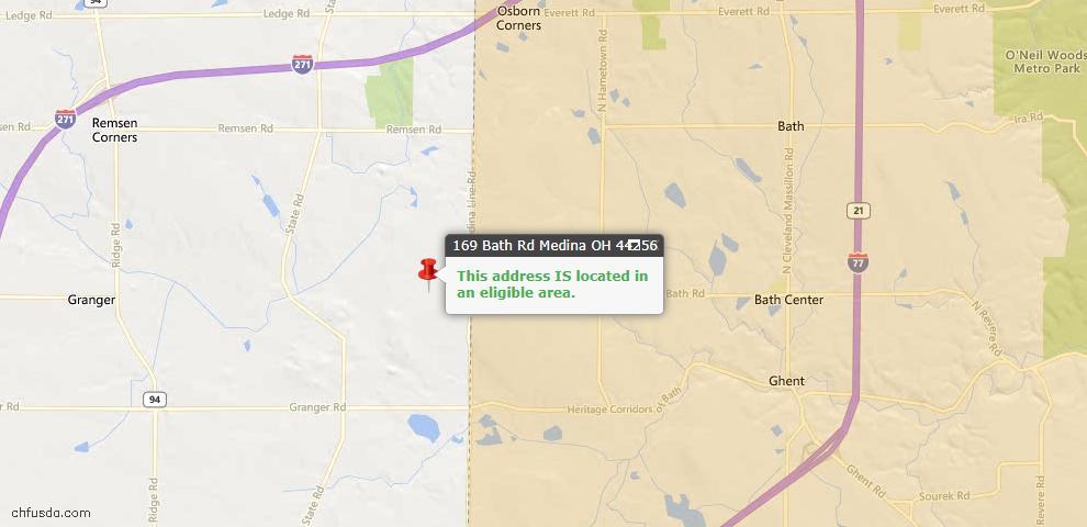 USDA Loan Eligiblity Map - 169 Bath Rd, Medina, OH 44256