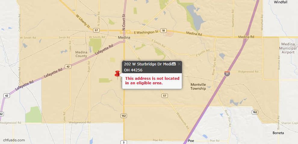 USDA Loan Eligiblity Map - 202 W Sturbridge, Medina, OH 44256