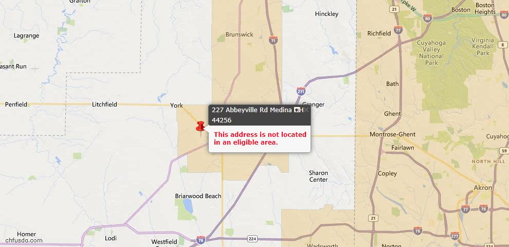 USDA Loan Eligiblity Map - 227 Abbeyville Rd, Medina, OH 44256