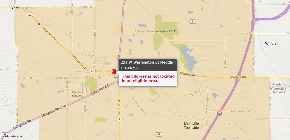 USDA Loan Eligiblity Map - 231 W Washington St, Medina, OH 44256