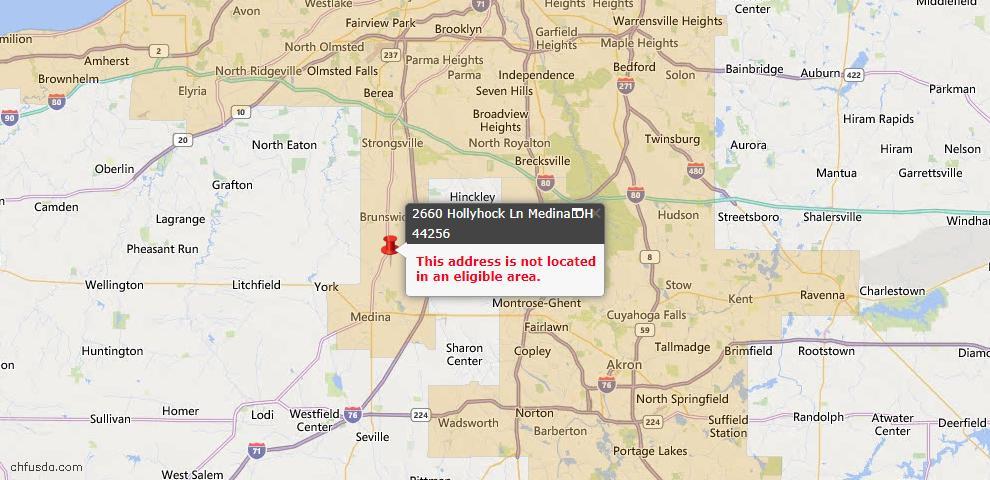 USDA Loan Eligiblity Map - 2660 Hollyhock Ln, Medina, OH 44256