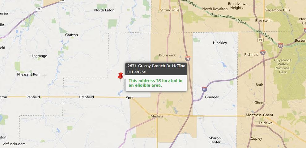 USDA Loan Eligiblity Map - 2671 Grassy Branch Dr, Medina, OH 44256